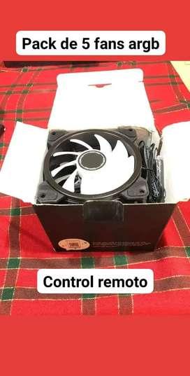 Pack de 5 fans RGB Andressable con control remoto