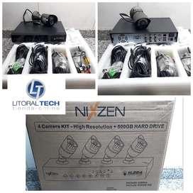 KIT Seguridad NIXZEN. 4 cámaras  disco  cables. OFERTA OUTLET.