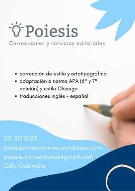 Correcciones y servicios editoriales