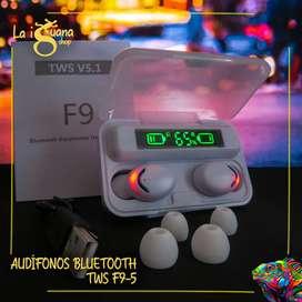 Audífonos bluetoot TWS F9 Con Power bank y sonido envolvente 9D