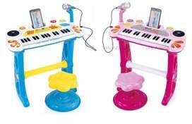 Juguete Piano De Mesa Organeta Con Amplificador MP3 o Celular Silla Niños