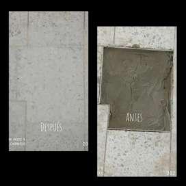 Correciones y hechura de piso en granito fundido o granito vaciado