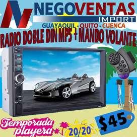 RADIO PANTALLA DOLE DIN MP5 MAS CONTROL MANDOS AL VOLANTE BLUETOOTH USB SD AUX FM PARA CARROS
