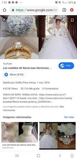 Vendo hermoso vestido de novia y vestido para  pajecita