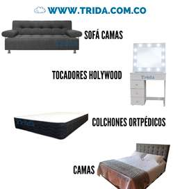 Colchones, sofá camas, camas, tocadores holywood y mesas de noche