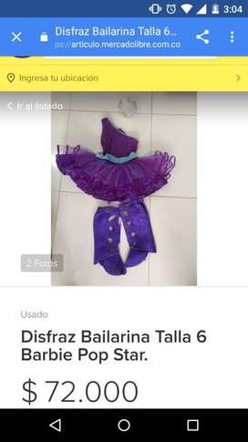 Vendo Disfraz Barbie Bailarina Talla 6