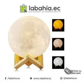 Lampara Luna Impresa En 3d, Touch, Cambia De Colores 15 cm
