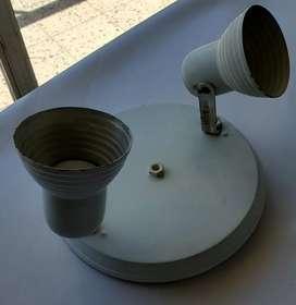 Plafon lampara 2 luces movibles ventilador techo blanca