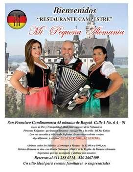 RESTAURANTE CAMPESTRE MI PEQUEÑA ALEMANIA -  ÚNICO EN COLOMBIA