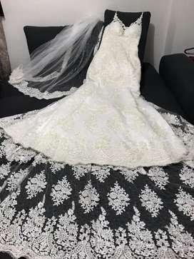 Expectacular !!! Vestido de novia para estrenar talla M (incluye velo)