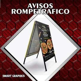 AVISOS ROMPETRAFICO TROPEZON TIJERAS LETREROS PUBLICIDAD PALMIRA CALI DISEÑO GRAFICO SMART GHRAPHICS IMPRESION