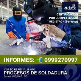 CERTIFICATE EN PROCESOS DE SOLDADURA - REGISTRO SENESCYT - LLAMANOS 0999270997