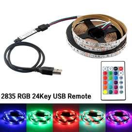 Cinta Led RGB 2 Metros con Control de 24 funciones USB 5V