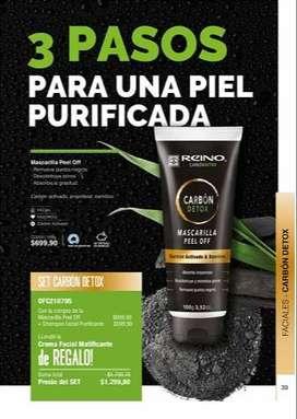 Mascarilla facial-reduce puntos negros-absorbe grasitud Ingredientes carbón activado y bamboo