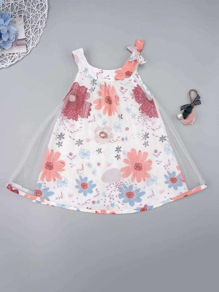 Ropa Bebé Vestido Floral Y Tul En Contraste 0