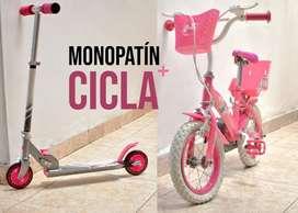 Combo Monopatin + Bicicleta infantil