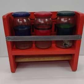 Especiero y porta rollos artesanal en madera pino e hierro