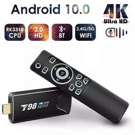 Tv stick T98mini android, 16gb, redes 5ghz wifi, proyectar pantalla