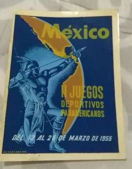 Antigua calcomanía calco al agua II Juegos Panamericanos México 1955