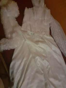 Vendo vestido de novia usado impecable . Pollera con cola incluida ,velo , corset, tapadito de piel .. un solo uso.