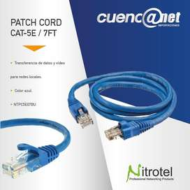 Patch Cord Utp Cat 5e 7ft Azul Ntpc5e07bu Nitrotel