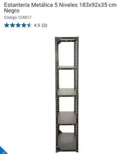Estantería metalica de 5 niveles 183x92x35cm Negra
