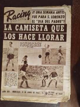 revista partidaria racing numero 1030 , 12 de junio de 1963