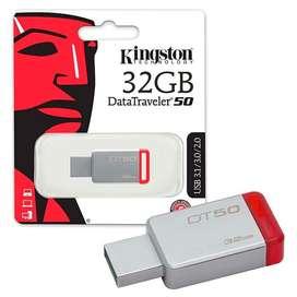 Data Travel Pen Drive Kingston 32gb Dt50 Usb 3.0 Orig BLISTER SELLADO segunda mano  San Nicolás, Capital Federal