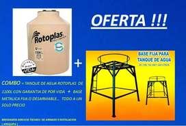 VENDO TANQUE DE AGUA ROTOPLAS Y BASE METÁLICA   (NUEVO)