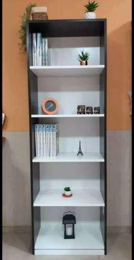 Biblioteca MDF 18 mm. Color Dakar y Blanco