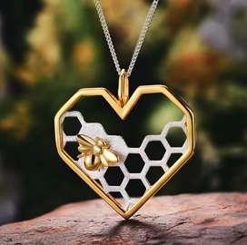 Collar Plata 925 Corazón Abeja Y Panal Con Baño De Oro Mujer