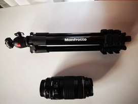 Lente canon Ef 70-300mm  1:4-5.6usado + trípode Manfrotto nuevo