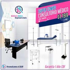Combo Consultorio Médico CMGEN5 - camilla, gradilla, mesa de curaciones, lámpara, balanza, tensiómetro