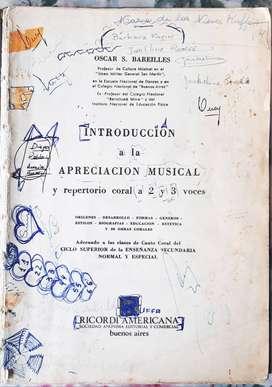Introducción A La Apreciación Musical Y Repertorio coral a 2 y 3 voces - Oscar Bareilles ricordi 1960