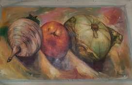Cuadro (Bodegón con cebolla) acrílico sobre lienzo.