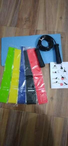 Kit de bandas elásticas x 5 unidades de diferentes resistencia + lazo siliconado