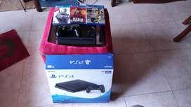 Playstation 4 slim 500gb todos sus accesorios y 3 juegos