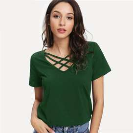 Blusa Sheinside Criss Cross color Verde con envio gratuito