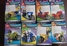 Minifiguras Lego, un personaje con una moto por caja X1, Sorpresa Piñatas Vengadores DC Comics