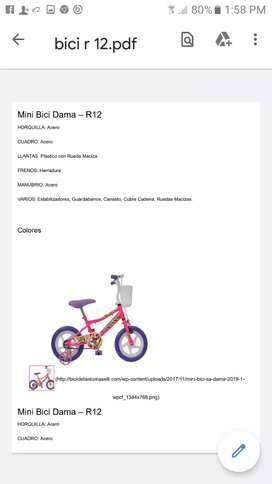 Bicicleta rodado 12 marca tomasseli