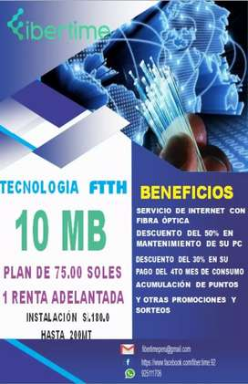 INTERNET CON TECNOLOGÍA FTTH - FIBRA ÓPTICA