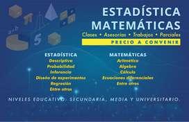 Trabajos ,Clases,asesorias  de Estadística y Matemáticas