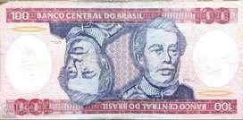 Hermoso y antiguo billete brasilero de 100 cruzeiros