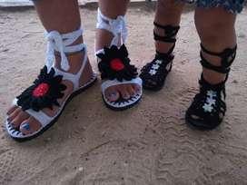 Sandalias tejidas a crochet + obsequio