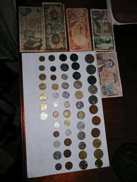 54 monedas antiguas colombianas y extranjeras + Billetes Pesos oro