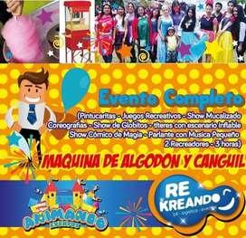 payaso animacion fiesta infantil magia titeres local decoraciones globos helio canguil algodon de azucar piñata