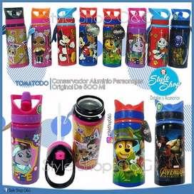 Tomatodo Aluminio Mickey Mouse  Original De 500 Ml Paw Patrol, LOL, Mickey, Minnie, Avengers