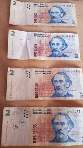 Vendo billetes de $2 argentinos