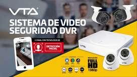 Kit DVR 1089, 4 Cámaras de seguridad VTA HD, 2 interior, 2 exterior, 1Gb disco duro