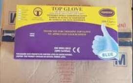 Una caja de guantes de Nitrilo Celeste